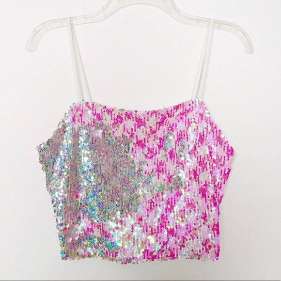 Topshop Two Toned Pink/White Sequins Cropped Cami